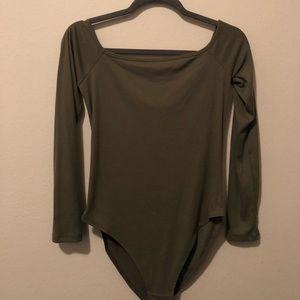 F21 Olive Green Off the shoulder Ribbed Bodysuit